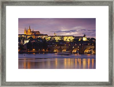 Prague Castle And Charles Bridge Framed Print by Andre Goncalves