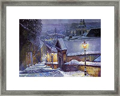 Prague Castle Steps Winter   Framed Print by Yuriy Shevchuk