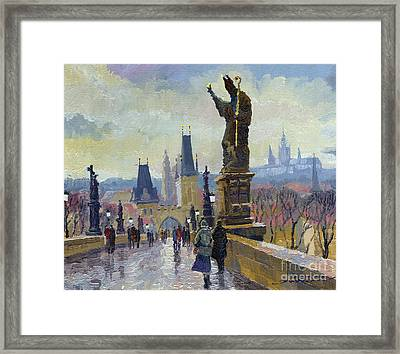 Prague Charles Bridge 04 Framed Print by Yuriy  Shevchuk