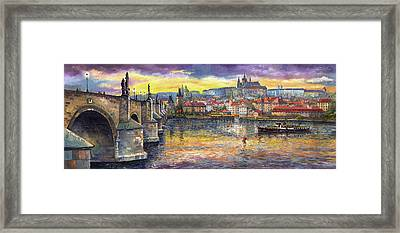 Prague Charles Bridge And Prague Castle With The Vltava River 1 Framed Print by Yuriy  Shevchuk