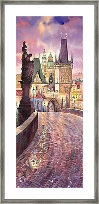 Prague Charles Bridge Night Light 1 Framed Print by Yuriy  Shevchuk