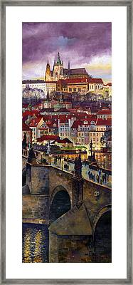 Prague Charles Bridge With The Prague Castle Framed Print by Yuriy  Shevchuk