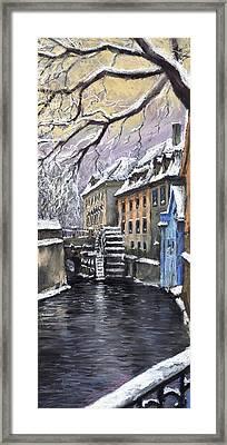 Prague Chertovka Winter Framed Print by Yuriy  Shevchuk