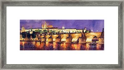 Prague Night Panorama Charles Bridge  Framed Print by Yuriy  Shevchuk