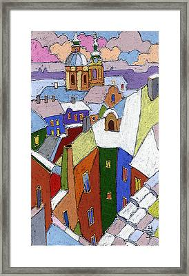 Prague Old Roofs Winter Framed Print by Yuriy  Shevchuk