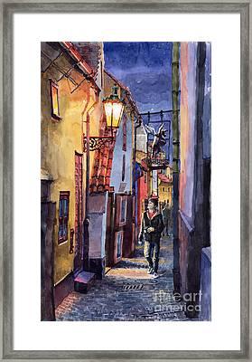 Prague Old Street Golden Line Framed Print by Yuriy  Shevchuk