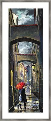 Prague Old Street Love Story Framed Print by Yuriy  Shevchuk