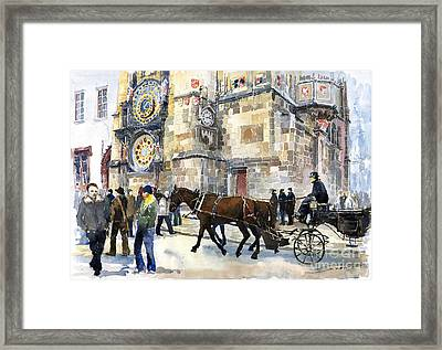 Prague Old Town Square Astronomical Clock Or Prague Orloj  Framed Print by Yuriy  Shevchuk