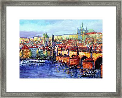 Prague Panorama Charles Bridge 07 Framed Print by Yuriy Shevchuk