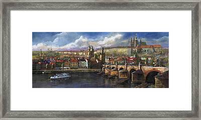 Prague Panorama Charles Bridge Prague Castle Framed Print by Yuriy  Shevchuk
