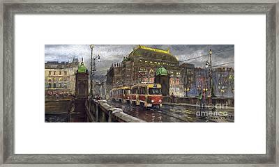 Prague Tram Legii Bridge National Theatre Framed Print by Yuriy  Shevchuk