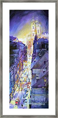 Praha Mostecka Str. Winter Evening Framed Print by Yuriy Shevchuk
