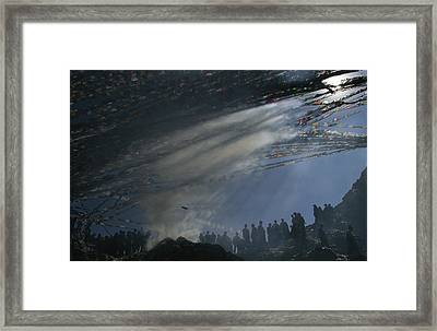 Prayer Flags Are Raised During Losar Framed Print by Maria Stenzel