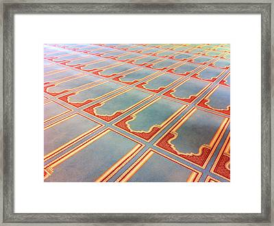 Prayer Mats Printed On Mosque Carpet Framed Print by Jill Tindall