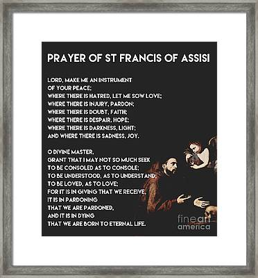 Prayer Of St Francis Assisi Framed Print by Celestial Images