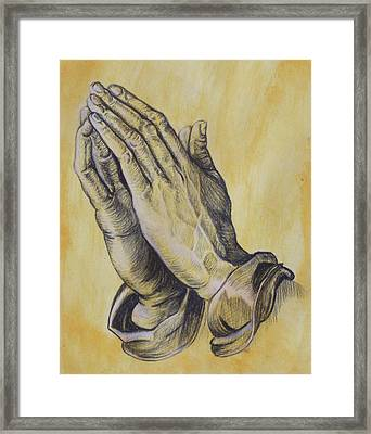 Praying Hands Framed Print by Donovan Hubbard
