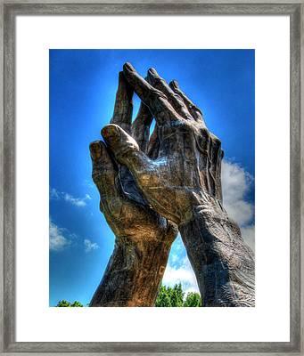 Praying Hands Sculpture Framed Print by Ann Higgens
