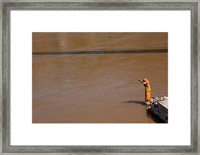 Praying On  Banks Of Holy Ganges In Rishike Framed Print by Claude Renault