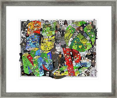Pre-colored Gaming Themed Coloring Poster Framed Print by Austin Alander