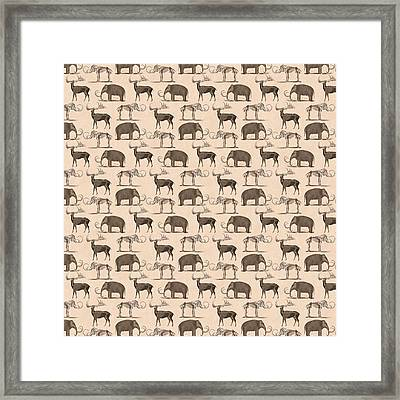 Prehistoric Animals Framed Print by Antique Images