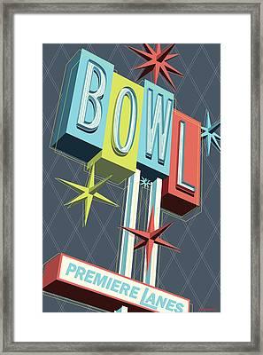 Premiere Lanes Bowling Pop Art Framed Print by Jim Zahniser