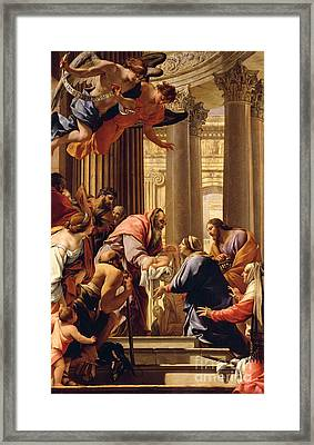 Presentation In The Temple Framed Print by Simon Vouet
