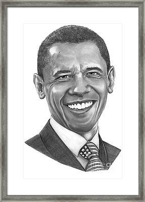 President Barack Obama By Murphy Art. Elliott Framed Print by Murphy Elliott