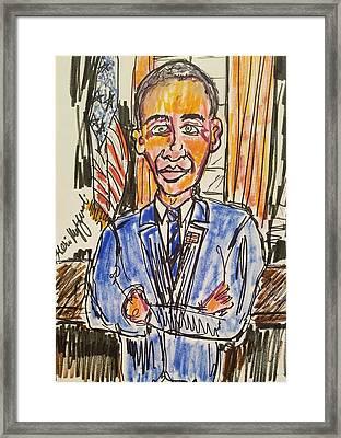 President Barack Obama Framed Print by Geraldine Myszenski