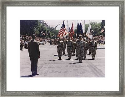 President Bush At A Desert Storm Framed Print by Everett