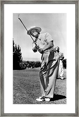 President Eisenhower Golfing Framed Print by Underwood Archives