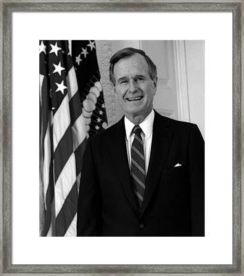 President George Bush Sr Framed Print by War Is Hell Store