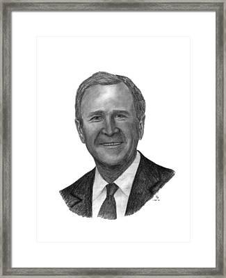 President George W Bush Framed Print by Charles Vogan