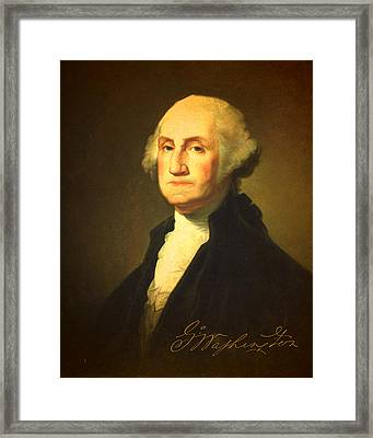 President George Washington Portrait And Signature Framed Print by Design Turnpike