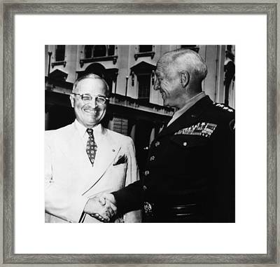 President Harry Truman, Shaking Hands Framed Print by Everett