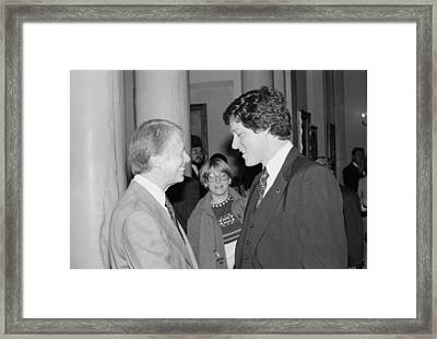 President Jimmy Carter With Future Framed Print by Everett