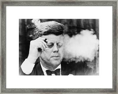 President John Kennedy, Smoking A Small Framed Print by Everett
