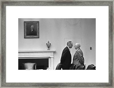 President Johnson Invading The Space Framed Print by Everett