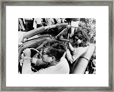 President Kennedy Drives An Open Car Framed Print by Everett