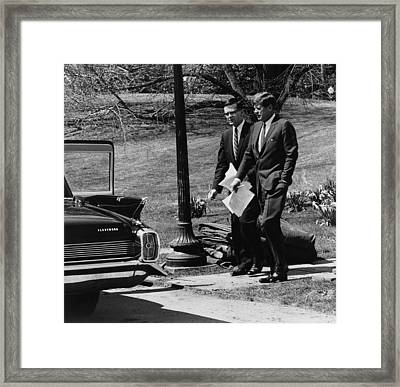 President Kennedy With Theodore Framed Print by Everett