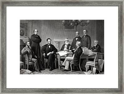 President Lincoln And His Cabinet Framed Print by War Is Hell Store