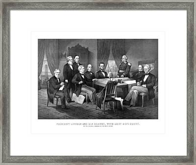 President Lincoln His Cabinet And General Scott Framed Print by War Is Hell Store