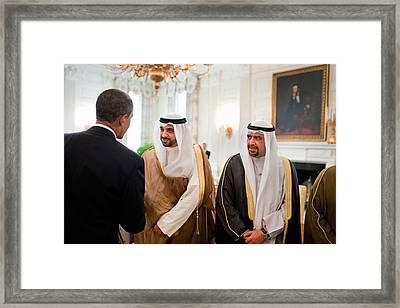 President Obama Greets Members Framed Print by Everett
