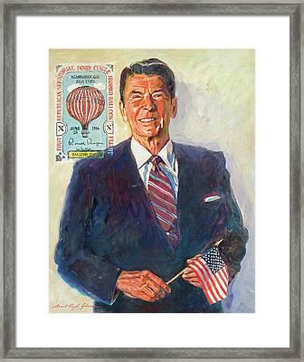 President Reagan Balloon Stamp Framed Print by David Lloyd Glover
