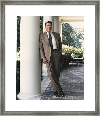 President Reagan On The White House Framed Print by Everett