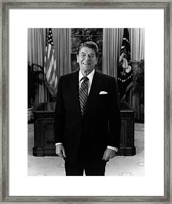 President Ronald Reagan In The Oval Office Framed Print by War Is Hell Store
