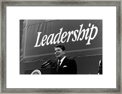 President Ronald Reagan Leadership Photo Framed Print by War Is Hell Store