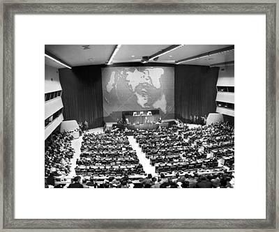 President Truman Addresses Un Framed Print by Underwood Archives
