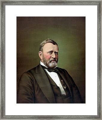President Ulysses S Grant Portrait Framed Print by War Is Hell Store