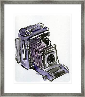 Press Camera Watercolor Framed Print by Caffrey Fielding