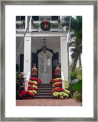 Pretty Christmas Decoration In Key West Framed Print by Susanne Van Hulst